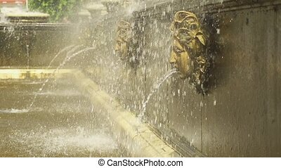 Human heads fountain in park Peterhof slow motion - Close up...