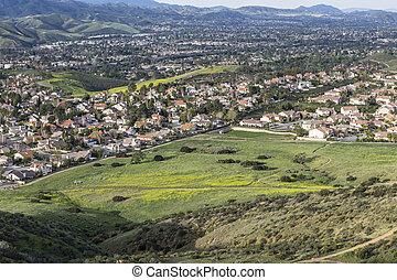 Simi Valley California - Spring green view of suburban Simi...