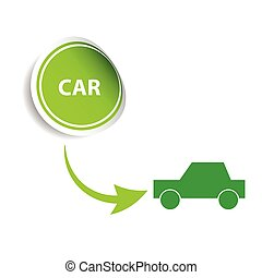 sticker car green vector