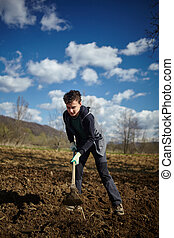 Teenager boy with a hoe sowing potatoes - Teenager boy...