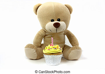 teddy and cupcake wth 1 candle, - teddy and cupcake wth 1...