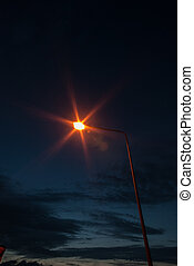 Street light with twilight background
