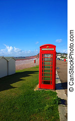 GPO Phone box - BT GPO red telephone box on a beach, public...