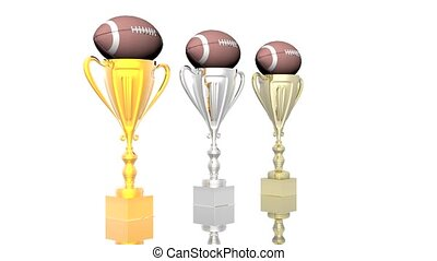 trophy cup with football isolated on a white background