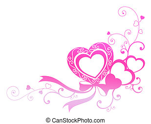 heart - drawing of beautiful pink heart with ribbon