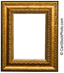 Gold picture frames and photo on a white background.
