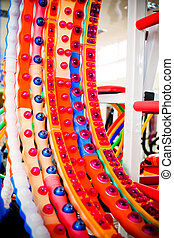 A bunch of multicolored hula hoop in a sports shop