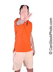 rejection of man - isolated young man showing palm rejection