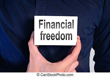 financial freedom man - man holding paper with financial...