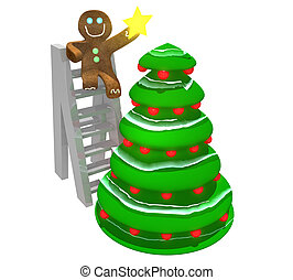 Gingerbread man decorating tree - Gingerbread man sitting on...