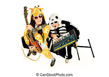 rock band - Rock band in costumes of skeleton and giraffe...