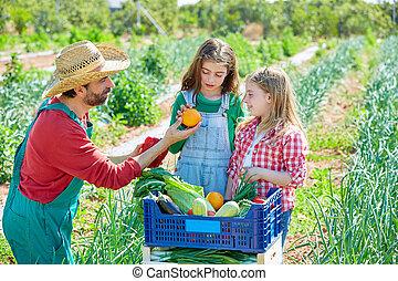 mostrando, meninas, agricultor, colheita, legumes, criança