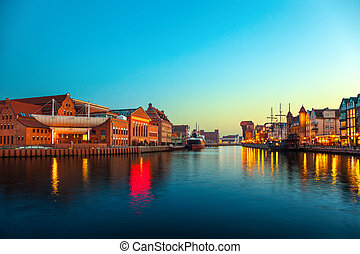 Gdansk - The riverside at evening in Gdansk, Poland.