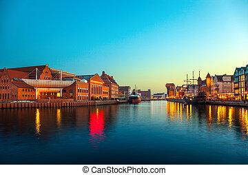 Gdansk - The riverside at evening in Gdansk, Poland.