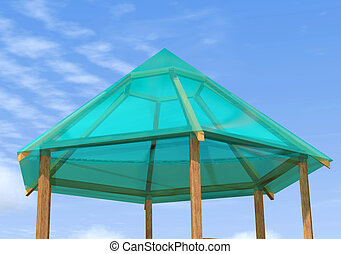 Wooden gazebo is on the sky background. - Wooden pergola is...