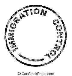 Immigration Control black ink grunged rubber stamp