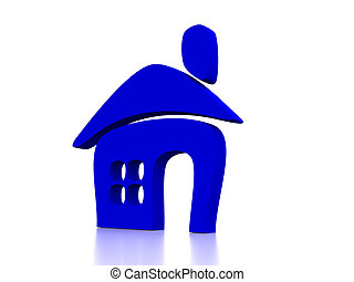 house - blue shape of house isolated on white