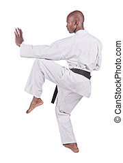 karate - african american man in karate suit