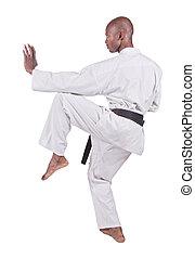 karate - african american man in karate suit