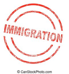 Immigration red ink grunged rubber stamp on a white...