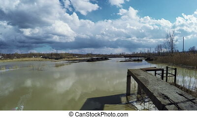 Wastewater pond - View from coast to contaminated wastewater