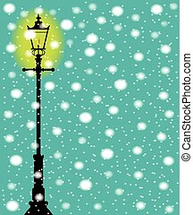 Lamppost In the Snow - A lit gaslight in a winter downfall...