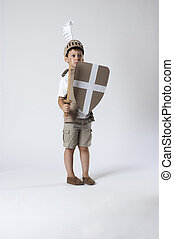 medieval knight child - scared child knight is looking from...
