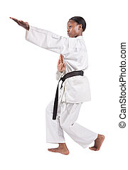 karate - african american girl in karate suit