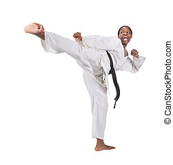 karate - african american woman in karate suit