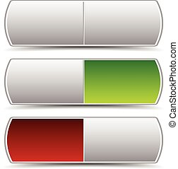 Power button, switch vector elements. Turn on, turn off. Power On-Off themes. Pressed green and red version and intact version. 