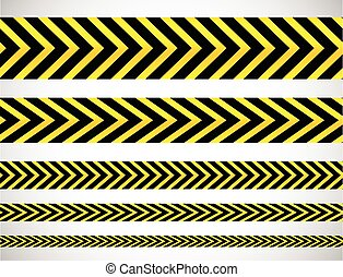 Repeatable yellow tapes, bands, strips Vector,