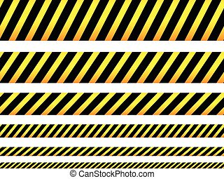 Repeatable yellow tapes, bands, strips. Vector, editable....