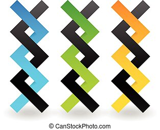 Conjoined vector shapes. Overlapping, intersecting shapes. Strand, Helix. Abstract DNA string like elements      Conjoined vector shapes. Overlapping, intersecting shapes. Strand, Helix. Abstract DNA