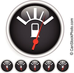 Fuel, gas meter vector elements with red pointers Fuel, gas...