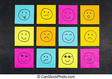 smiley, rosto, pegajoso, notas,