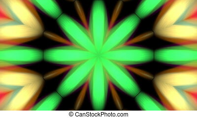 Multicolored spotlights kaleidoscope on black background