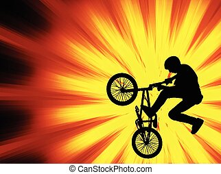 bmx on the abstract background - bmx bicyclist on the...