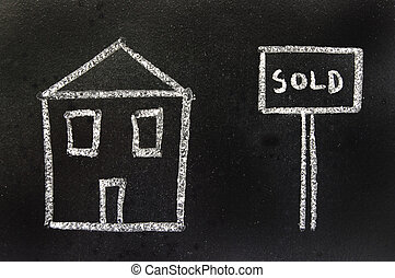 House sold - Child like drawing of a house sold sign