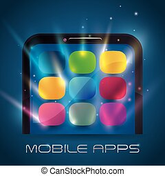 Mobile apps design - Mobile apps design over white...