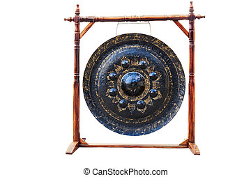 big gong in temple thailand isolate white background with clippingpath