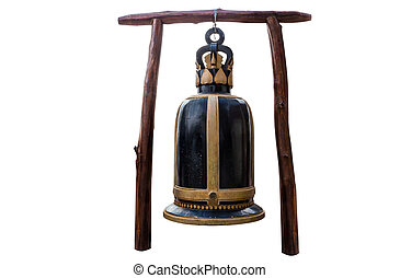 Big bell at Temple of thailand isolate white background with...