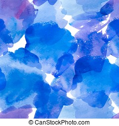 Seamless pattern with blue watercolor stains. Abstract...
