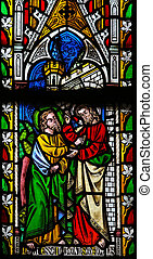 Jesus to Saint Thomas: Stop doubting, but believe - Stained Glas