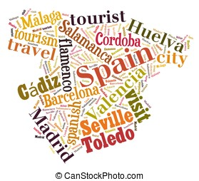 Visit Spain. - Illustration with word cloud city tourism in...