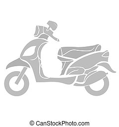 Scooter - Silhouette of Scooter Isolated on White Background...
