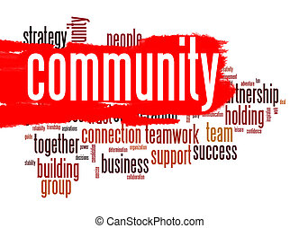 Community word cloud image with hi-res rendered artwork that...