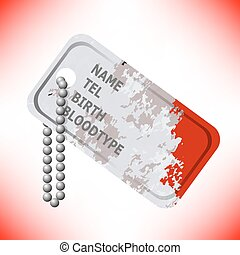 Military Dog Tag on Grey Background. - Military Dog Tag...