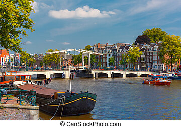Amstel and bridge Magere Brug, Amsterdam, Holland - City...