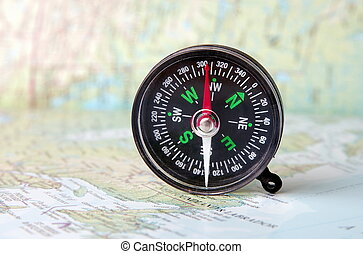compass in the open map atlas
