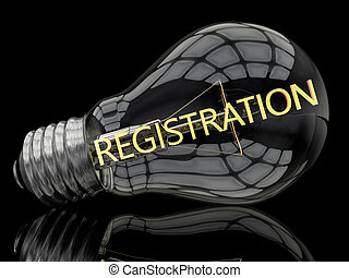 Registration - lightbulb on black background with text in it...